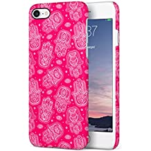 Crimson Pink Hamsa Pattern Apple iPhone 7 Snap-On Hard Plastic Protective Shell Case Cover Tasche Handy Hülle