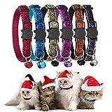 GingerUP Collare per Gatto Riflettente con Campanella, Sicuro, Nylon, Colori Misti, Collare per Animale Domestico, Collare Rimovibile per Gatto