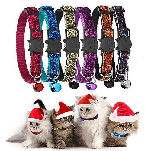 GingerUP Katzenhalsband, Katzenhalsband, mit Glöckchen, reflektierender Riemen und Sicherheitsschnalle, verstellbar (Rot)