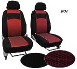 POK-TER-BUS Maßgefertigter Sitzbezug, Modellspezifischer Sitzbezug Fahrersitz + Beifahrersitz Für VW T4. Super Qualität, STOFFART VIP. In diesem Angebot ROT (Muster im Foto).