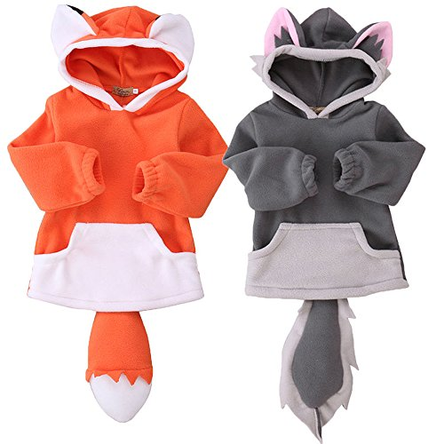 Baby Dress Up Fleece Fox Hoody With Ears and Tail