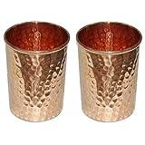 SKAVIJ Vasos de agua de cobre puro martillados estilo vasos (paquete de 2, 0.32 litros)