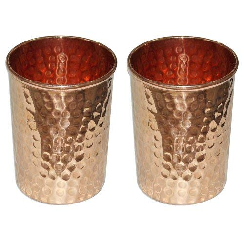 SKAVIJ Trinkgläser aus reinem Kupfer (Packung mit 2 Stück, 0,32 Liter)