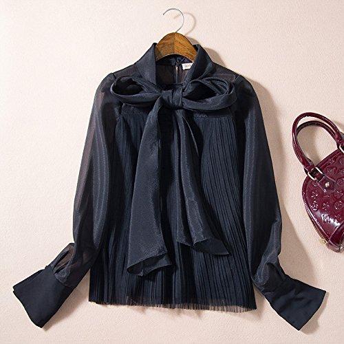 Mayihang Bluse Frauenhemd Women's Feder weiß Shirt Big Bug Ribbon Gaze Lose Shirt Hose Jacke,Schwarz,S (Gaze-big-shirt)
