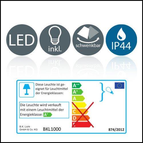 B.K.Licht LED Gartenstrahler inkl. 3W GU10, Erdspiess, Wegbeleuchtung, Rasenlicht, Gartenleuchte, Gartenbeleuchtung, Gartenlicht, Gartenspiess, Gartenlampe schwenkbar IP44 - 7