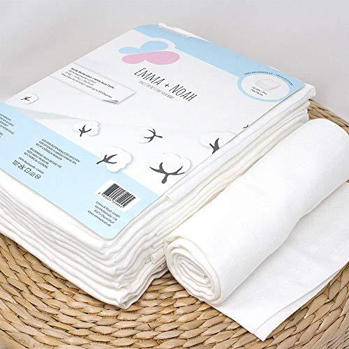 Emma & Noah langes pour bébés en mousseline, paquet de 10, 100% coton, lavable à 90°, 70 cm x 70 cm, super doux – idéal comme bavoir, couches en tissu, linge en molleton