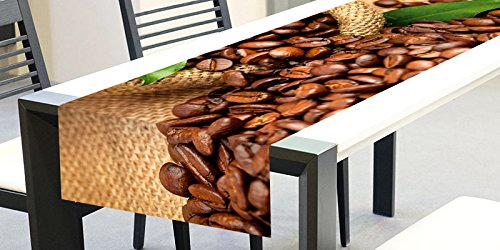 DIMEX LINE | Tischläufer - Tischdecke - Tischtuch - Tischwäsche Kaffeebohnen | 40 x 140 cm | hochwertiges Sublimationsdruck