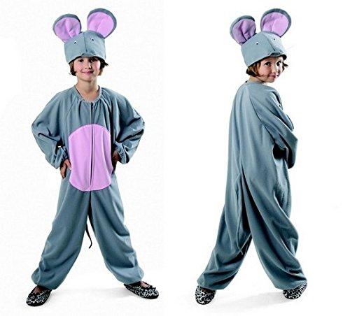 Maus Kostüm für Kinder Grau Jungen und Mädchen Karneval Fasching - Kostüm für Kinder Maus (122/128)