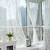 1pieza Romántico puerta ventana panel de pura cortina de hojas de gasa tul hogar, blanco