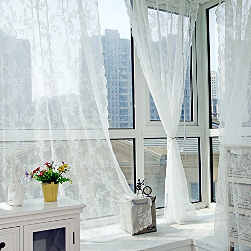 La Cabina Rideaux de la Chambre Salon Ne Couvre pas le Soleil Motif de Fleur Pteris Impression Offset Rideaux en Dentelle (blanc)