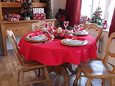 "Christmas Red Round Tablecloth 55"" Diameter (4 Seater)"