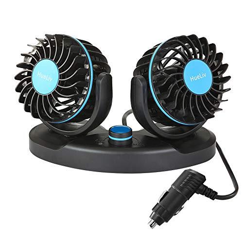 HueLiv Ventilador Eléctrico para Coche, Ajustable Ventilador Eléctrico portátil, 12 V, Ventiladores...