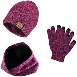 Heekpek® Bufanda Gorro Guantes para Hombre Invierno Regalos para Hombre Mujer Unisexo (Rosa)