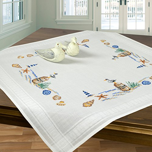 Stickpackung KÜSTENSTRAND / Komplettes Vorgezeichnetes Tischdecken Set zum Sticken / Maritimes Stickset mit Stickvorlage für Erwachsene / Sticken im Kreuzstich