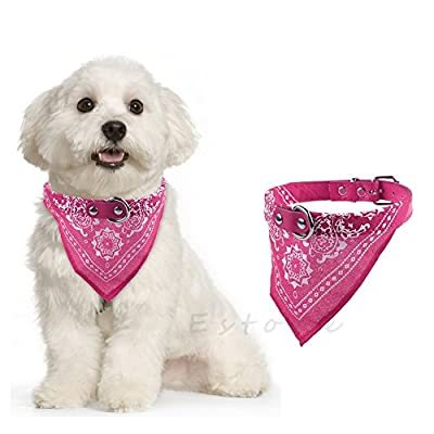 The Cheers Adjustable Pet Dog Puppy Neck Scarf Bandana with Leather Collar Neckerchief