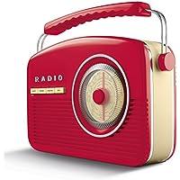 Akai A60010RDABBT Portable Retro DAB Radio Alarm Clock with Backlight/LCD Display and Bluetooth - Red - ukpricecomparsion.eu