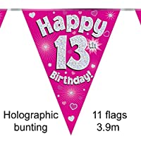 Happy 13th Birthday Pink Holographic Foil Party Bunting 3.9m Long 11 Flags