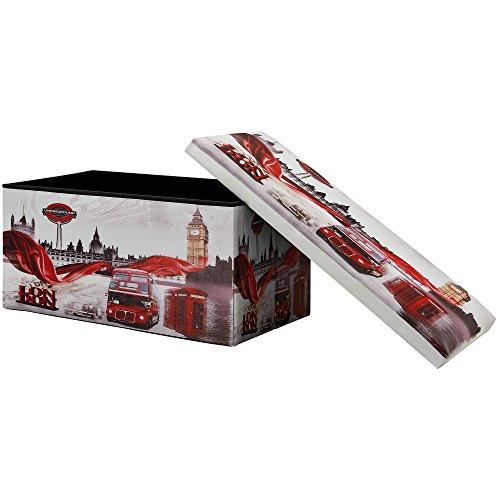 [en.casa] Taburete de almacenamiento multifunción 76×38cm Puff - Otomana - reposapiés LONDON...