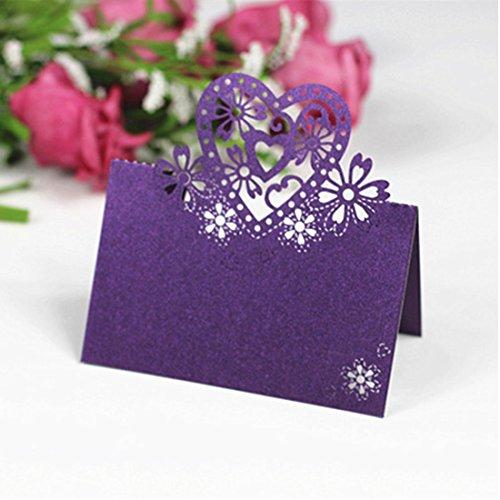 erz Hochzeit Geburtstag Tischdekoration Ort Namen Karten lila (Name Ort Karten)