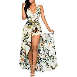 Combinaison Femme, Honestyi Robe Femmes Combishort à Licou Jupe Eté sans Manches Robe Bohême Dress Impression Fleur Combishort de Plage Short Combinaison Robe