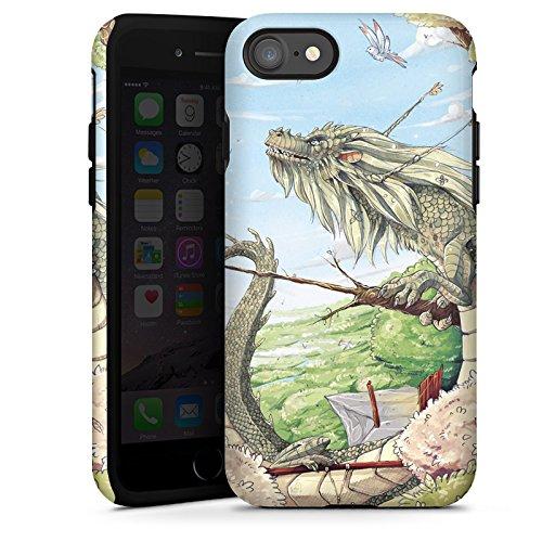 Apple iPhone X Silikon Hülle Case Schutzhülle Drache Fantasie Vögel Tough Case glänzend