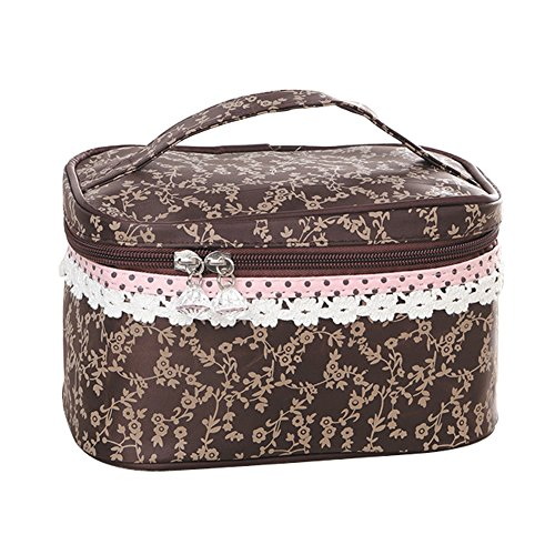 Qearly Nettoyable et Durable Trousse de Toilette/ ¨¦tui ¨¤ Accessoires de Toilette/Zipper Sac/toiletry bag-Brown
