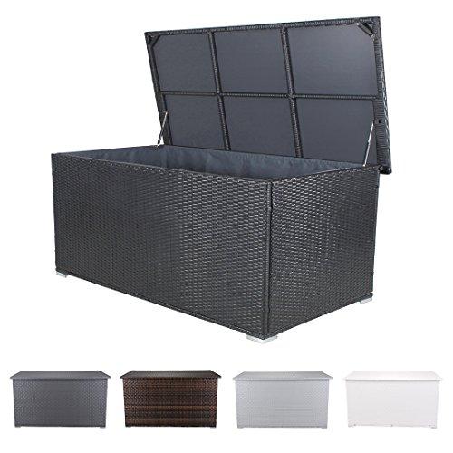 Miweba Grande XXL Auflagenbox Kissenbox 950L Gartentruhe Box Polyrattan Liege Sitztruhe Wasserdicht Gasdruckdämpfer 4 Farben (Schwarz)