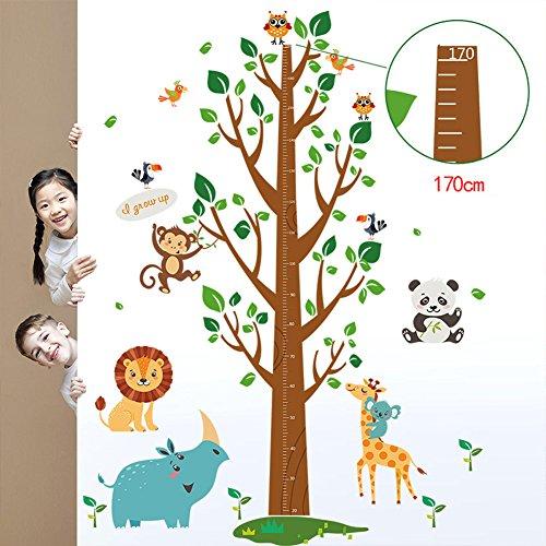 UniqueBella Pegatinas de Pared Vinilo Infantil Decorativo Adhesivo Decoración para Hogar Habitación de Niños Medidor Medir Altura Paraíso de Animales