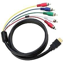 HDMI a RCA Cable, 5ft 1.5m 19pin HDMI Tipo A macho a 5RCA macho Audio y vídeo AV Componente Convertidor Cable adaptador para HDTV, DVD, y la mayoría de los proyectores LCD