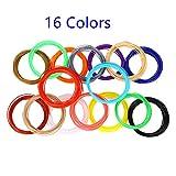 Afufu 3D Stift Filament 1,75mm 16 Farben 6,1M PLA Filament 3D Stift Farben für 3D Druckstift, 3D Drucker, 3D Pen