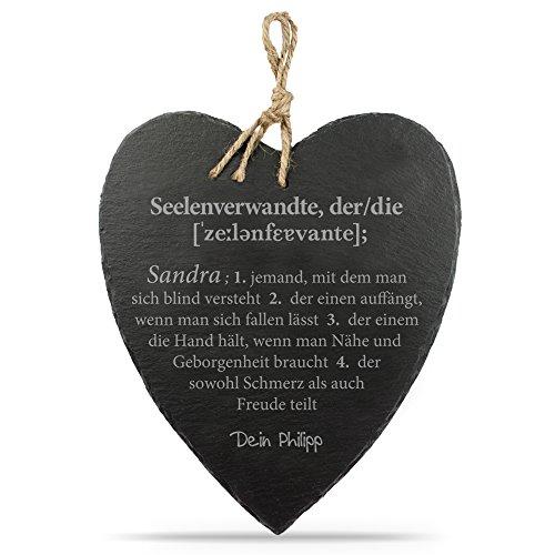 Casa Vivente Schieferherz mit Gravur – Definition Seelenverwandte – Standard – Schöne Wanddeko als Geburtstagsgeschenk – Geschenkideen für Männer und Frauen – mit Jute-Band Zum Aufhängen