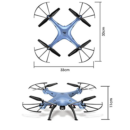 2016 Syma New Product X5HW (besser als X5SW) 2,4-GHz-Wireless-LAN FPV mit 2MP HD-Kamera High-Hold-Modus 6-Achsen-Gyro Headless Modus RC Quadcopter RTF (Farbe: blau) -