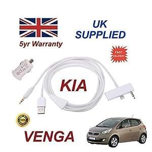 KIA VENGA iphone 6 PLUS prise audio 3,5 mm (Aux) &Câble USB avec adaptateur secteur USB