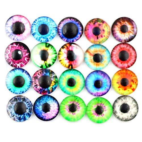FADACAI 20 Stücke 10 MM / 16 MM / 20 MM DIY Handwerk Edelstein Augäpfel Glas Puppen Augen
