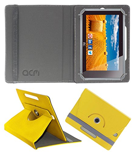 Acm Rotating 360° Leather Flip Case for Hcl Me Connect 3g 2.0 Y4 Cover Stand Yellow  available at amazon for Rs.149