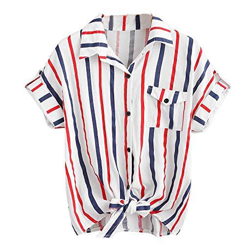 ✿✿JiaMeng Bunt gestreift drucken t-Shirt Damen Elegant Outdoor blusen Mode Büro Baggy Oberteile lässig Sommer Strand Tops