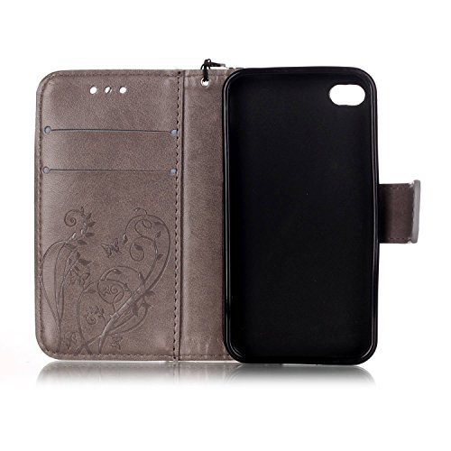 URFEDA Schmetterling Schutzhülle für Apple iPhone 4 4s Hülle Butterfly Flip Case Wallet Cover mit Strap Tasche PU Leder Handytasche Lanyard Handyhülle Schutz Hüllen im Bookstyle Ledertasche mit Stand  #1 Bling,Grau