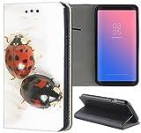 Samsung Galaxy S5 / S5 Neo Hülle Premium Smart Einseitig Flipcover Hülle Samsung S5 Neo Flip Case Handyhülle Samsung S5 Motiv (653 Marienkäfer Glück Schwarz Rot)