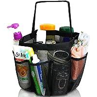 WANDF Mesh Shower Caddy, Organizador de ducha portátil Multifuncional Espacioso 8 Bolsillos de malla Toiletry Cosmetic Storage Bags, Mesh permite que el agua drene fácilmente. Negro.