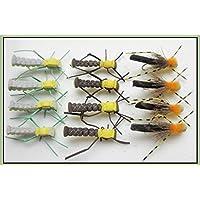 12Grasshopper Moscas Para Pesca, banda, Verde/Amarillo, Marrón/Amarillo elección de tamaños Talla:12
