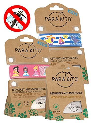 Imagen de parakito  modelo para niño  proteccion natural antimosquito  kit 2 x para'kito pulsera repelente de mosquitos rosado et azul + 1 x recarga para'kito para pulsera