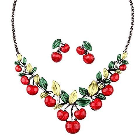 Hamer Rouge cerise Pendentif charm Bavoir Déclaration Collier ras du cou et boucles d'oreilles Ensembles de bijoux de mariage