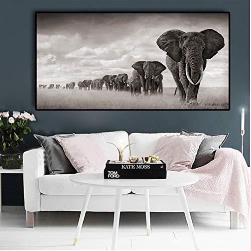 haoxinbaihuo Negro África Elefantes Animales Salvajes Lienzos Pintura Escandinavia Carteles E Impresiones...