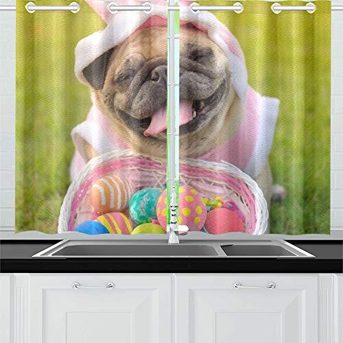 JOCHUAN Kitz-Mops-Hund, der Kaninchen-Kostüm-Küchen-Vorhänge-Fenster-Vorhang-Reihen für Café, Bad, Wäscherei, Wohnzimmer-Schlafzimmer 26X39 Zoll 2Pieces trägt