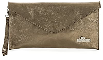 LIATALIA Italian Suede Leather Envelope Evening Clutch Bag with Cotton Lining - LEAH