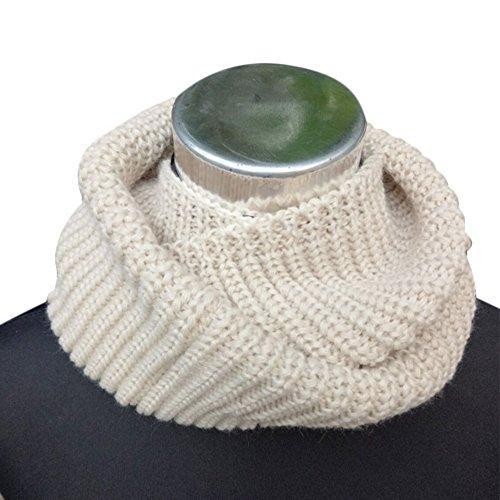 Winter warme Schal, Minkoll Infinity dicke Kabel Wolle gestrickte Schleife Snood Kreis Wrap Neck Cowl Schal Schals für Kind (Beige) (Kinder Infinity-schals)