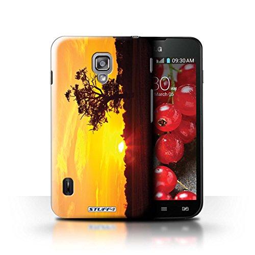 Kobalt® Imprimé Etui / Coque pour LG Optimus L7 II Dual / Chaîne de montagne conception / Série Coucher du Soleil Chêne d'orange