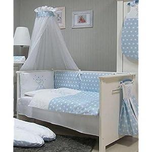 Juego-de-ropa-para-cuna-de-beb-de-Babymajawelt-4-piezas-dosel-para-cuna-70-x-140-cm-ropa-de-cama-100-x-135-y-protector-azul-CATS-blau