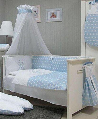 Babymajawelt® Baby Bettwäsche Set, Bett Set 4 tlg. VOILE fürs BABYBETT 70x140 cm, Bettwäsche 100x135, Nestchen, Himmel Voile (Baldachim, Moskito) (CATS blau)