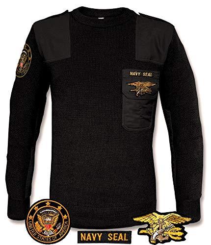 Gen.con. maglia militare in lana navy seals, golf americano marina